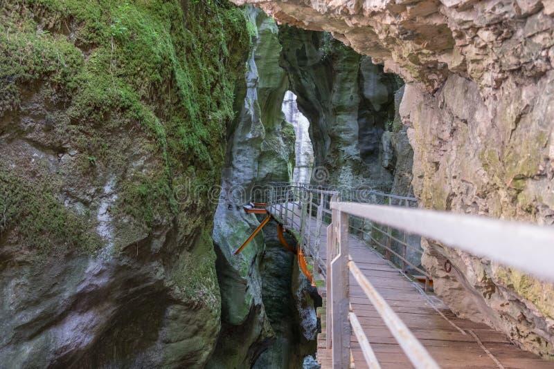 美丽的峡谷du非夏尔,在阿讷西附近的法国峡谷 免版税图库摄影