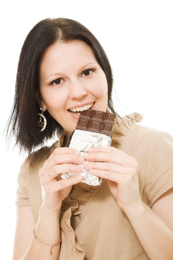 美丽的巧克力纵向妇女 库存照片