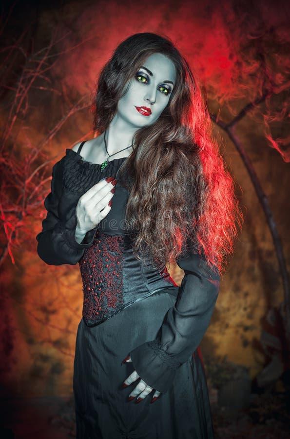 美丽的巫婆有长的头发背景 免版税图库摄影
