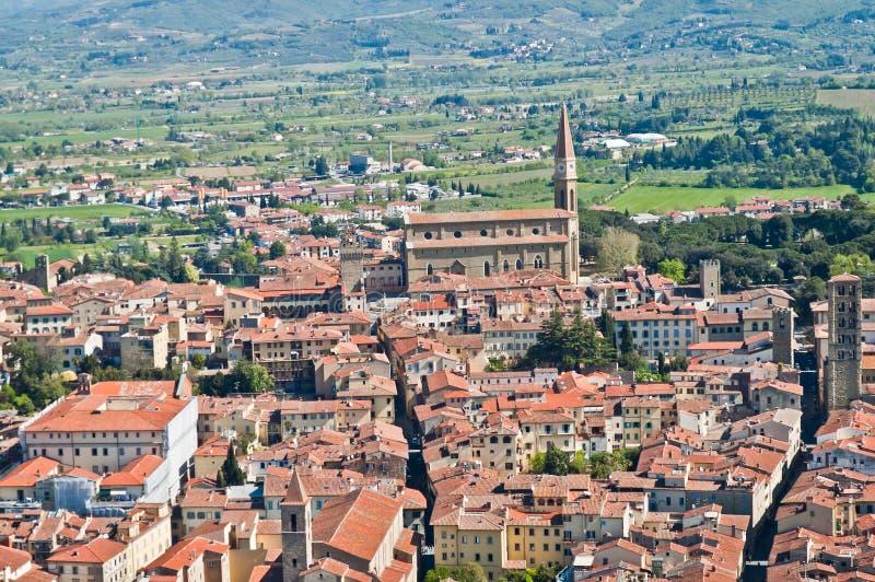 美丽的市的全景阿雷佐在托斯卡纳 库存照片