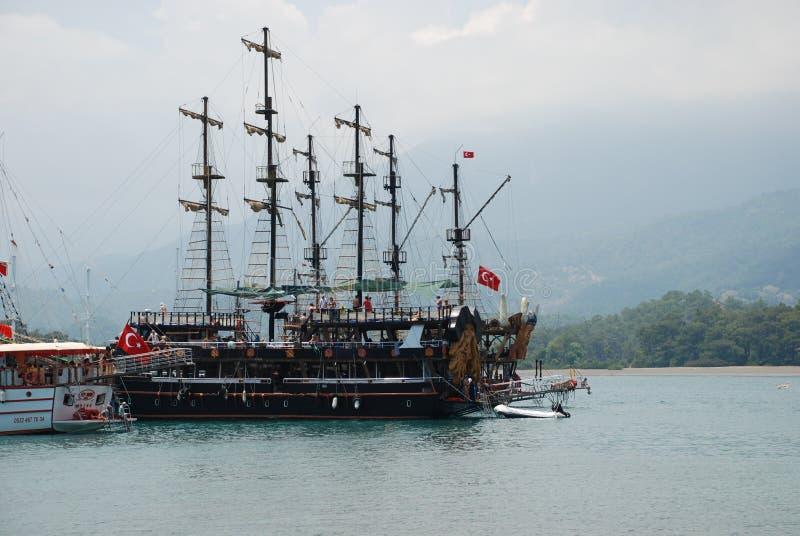 美丽的帆船在火鸡的地中海 图库摄影