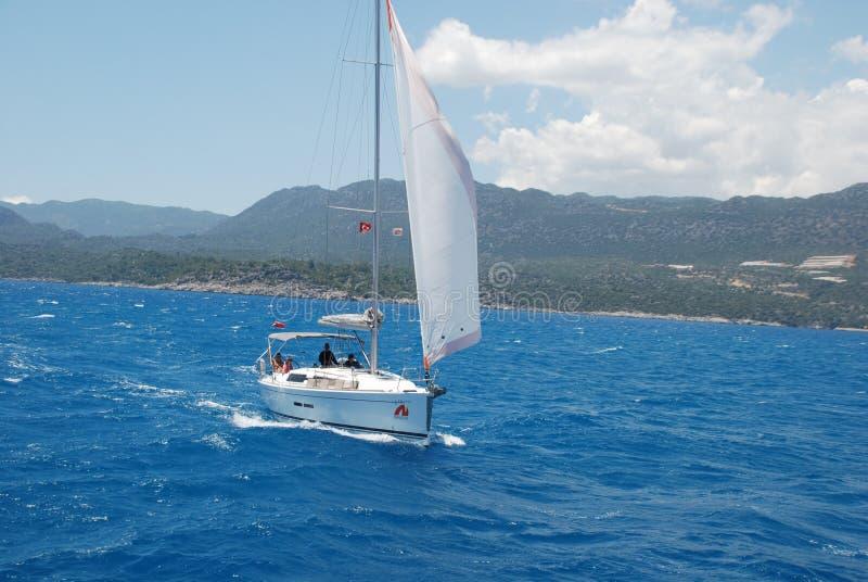 美丽的帆船在火鸡的地中海 免版税库存照片