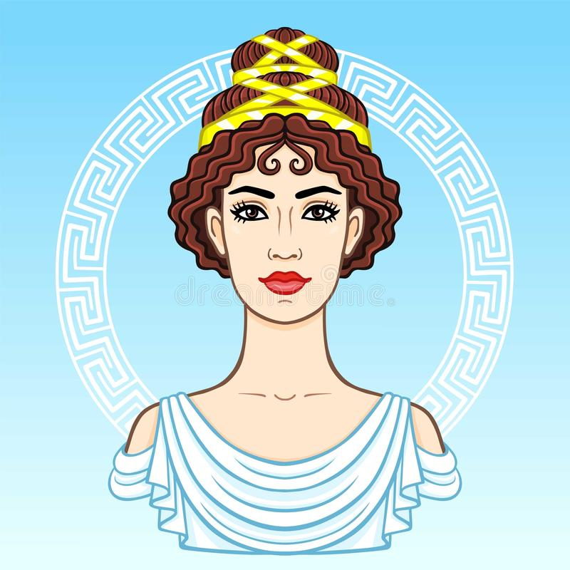 年轻美丽的希腊妇女的动画画象古老衣裳的 装饰的圈子 皇族释放例证