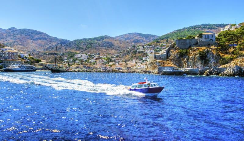 美丽的希腊海岛,九头蛇 库存照片