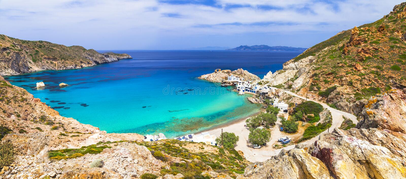 美丽的希腊海岛-芦粟 库存照片