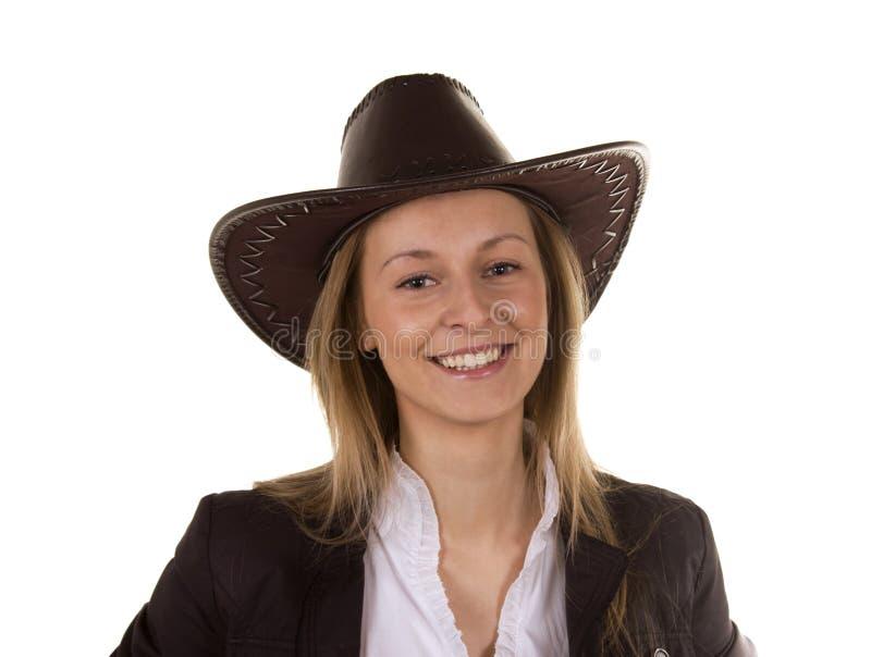 美丽的帽子妇女年轻人 免版税库存图片