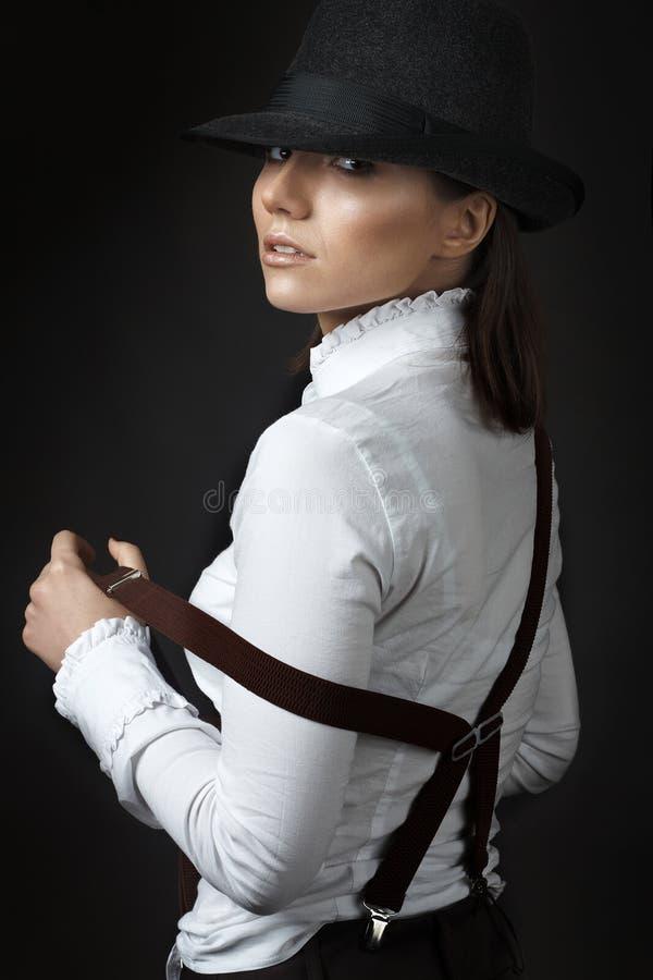 美丽的帽子妇女年轻人 库存图片