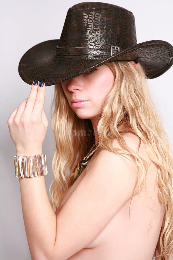 美丽的帽子妇女 免版税库存照片