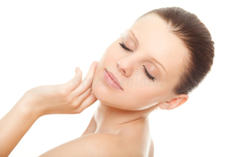 美丽的干净的健康皮肤妇女 库存图片