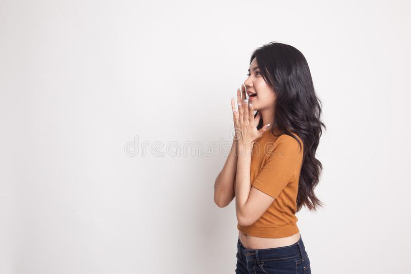 美丽的年轻亚裔妇女冲击了并且查寻 免版税库存图片