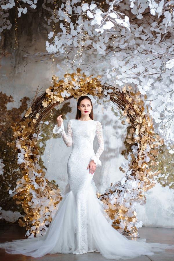 美丽的年轻女人时尚画象一华美的婚纱的 库存照片
