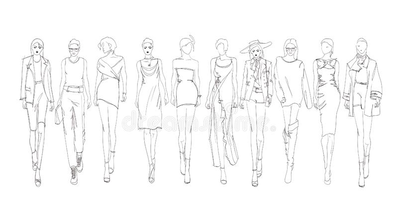 美丽的少女 手绘时尚女孩 时尚模特摆姿 草绘 向量集 库存例证