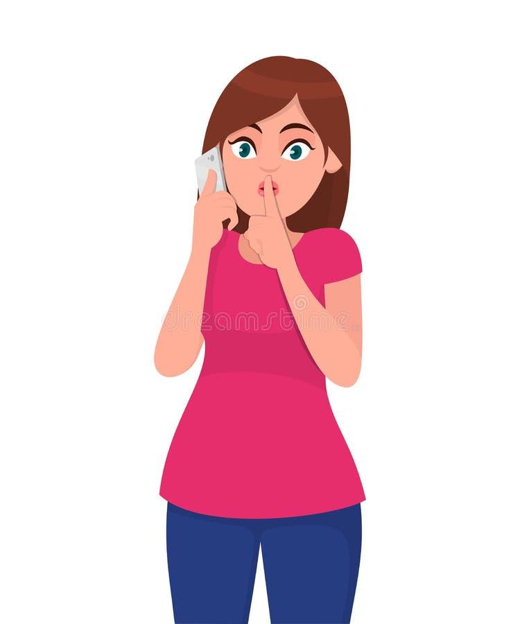 美丽的年轻女人谈话在机动性或智能手机和请求沈默,保持安静 妇女说在电话里 皇族释放例证