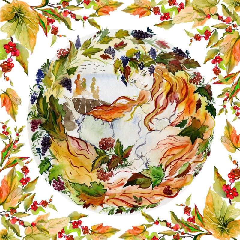 美丽的年轻女人长与红色头发反对乡下秋天背景 一个女孩的概念作为秋天 库存例证