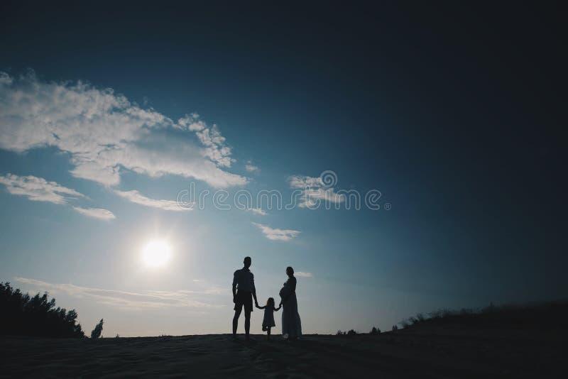 美丽的年轻家庭剪影画象在期望的新出生 男人和妇女身分面对面与他们 免版税图库摄影