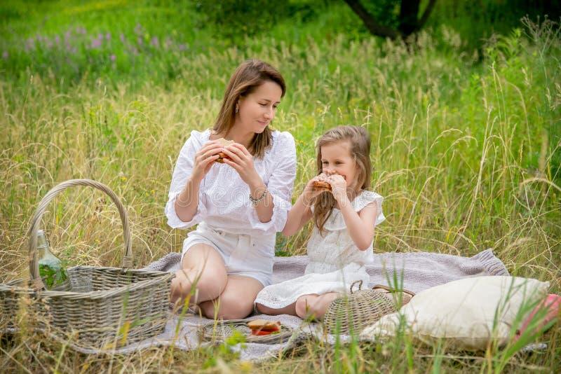 美丽的年轻母亲和她的小女儿白色礼服的获得乐趣在野餐 他们坐在草的格子花呢披肩和 库存照片