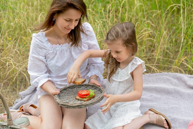 美丽的年轻母亲和她的小女儿白色礼服的获得乐趣在野餐 他们坐在草的格子花呢披肩, 免版税库存照片