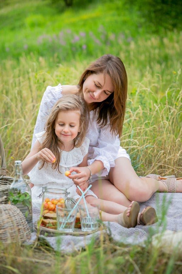 美丽的年轻母亲和她的小女儿白色礼服的获得乐趣在野餐 他们坐地毯并且带莓果出去 库存图片