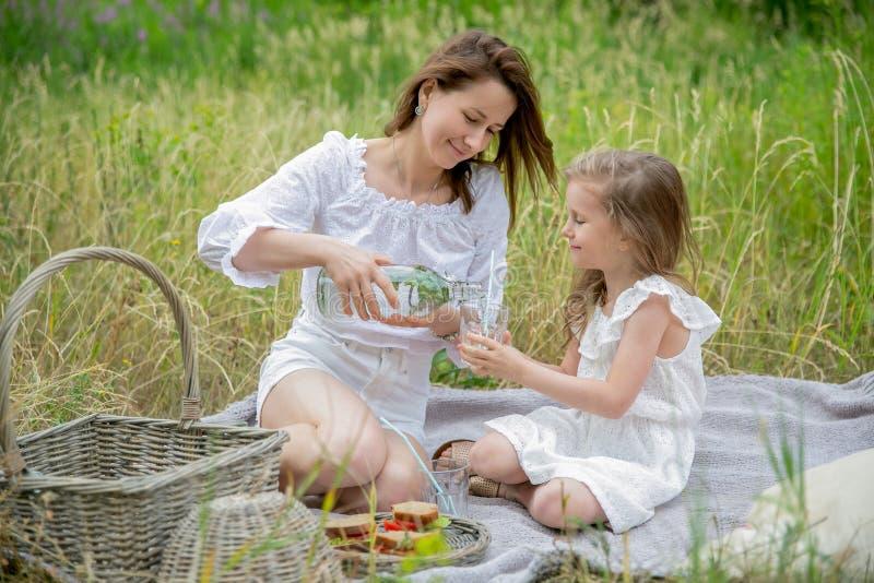 美丽的年轻母亲和她的小女儿白色礼服的获得乐趣在野餐 他们坐格子花呢披肩,并且妈妈倾吐 图库摄影