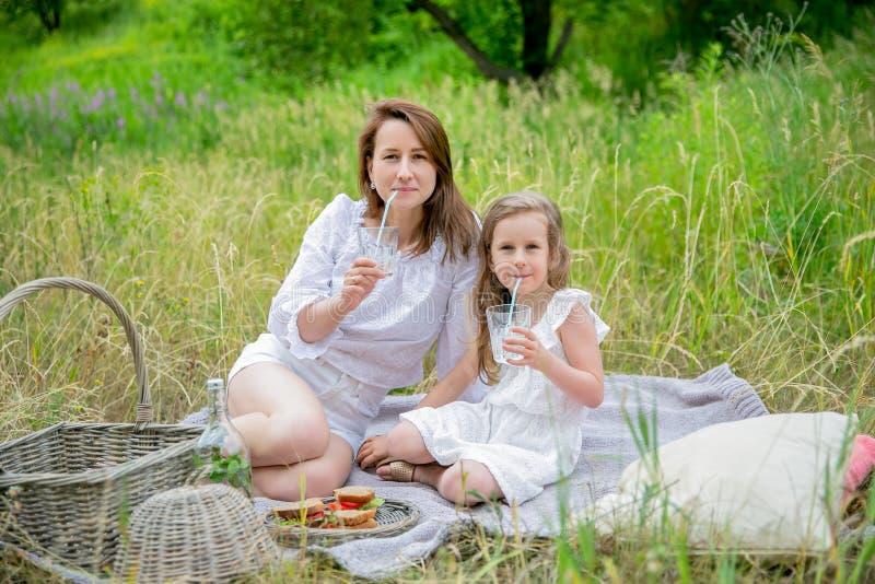 美丽的年轻母亲和她的小女儿获得乐趣在一顿野餐在夏日 他们坐格子花呢披肩和喝 图库摄影