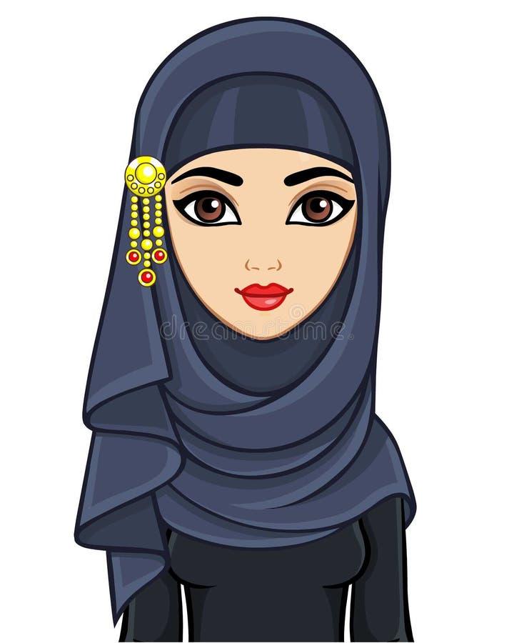 美丽的年轻阿拉伯妇女动画画象hijab的 库存例证