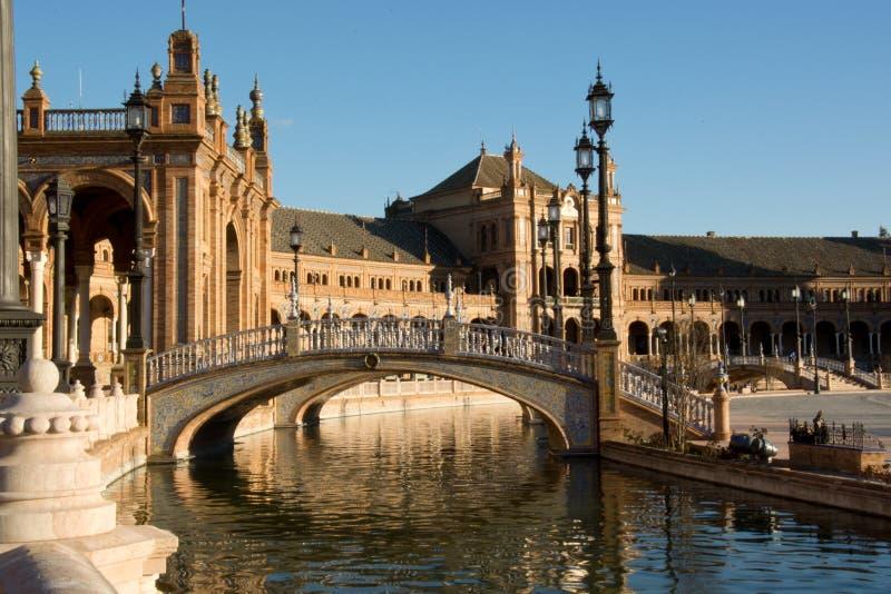 美丽的广场de西班牙的反射 免版税库存图片