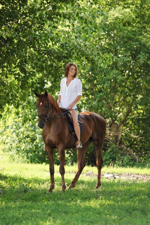 美丽的式样女孩乘坐与马在森林沼地在日落 免版税库存照片