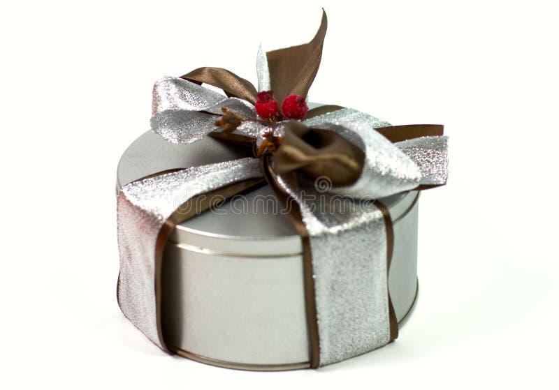 美丽的弓配件箱礼品金属 库存照片