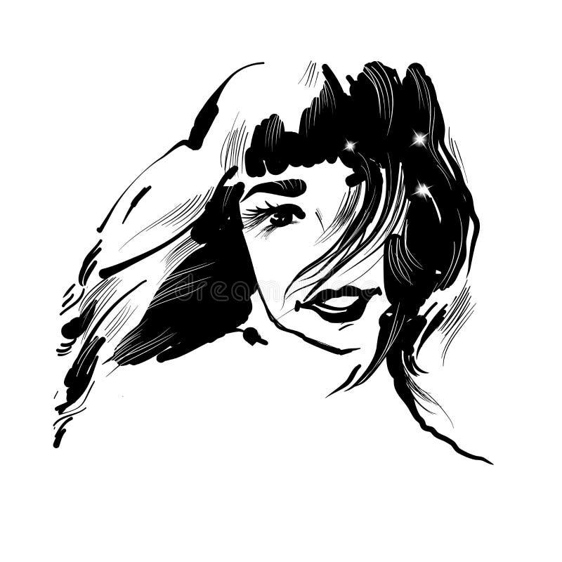 美丽的微笑的女孩画象 鲍伯发型 向量 与闪闪发光的黑白时尚例证 皇族释放例证