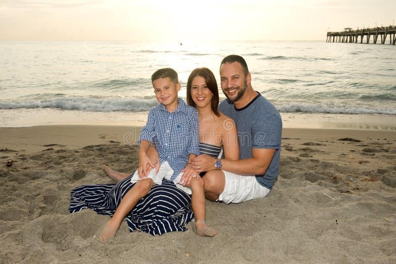 美丽的微笑的深色的家庭 免版税库存照片