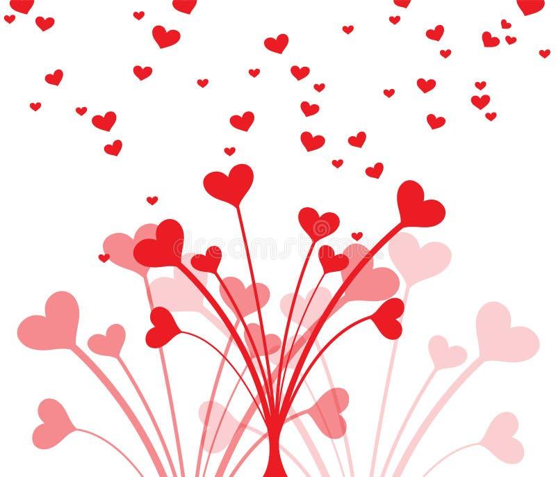 美丽的心脏花束为情人节 卡片的干净和可爱的设计 库存例证
