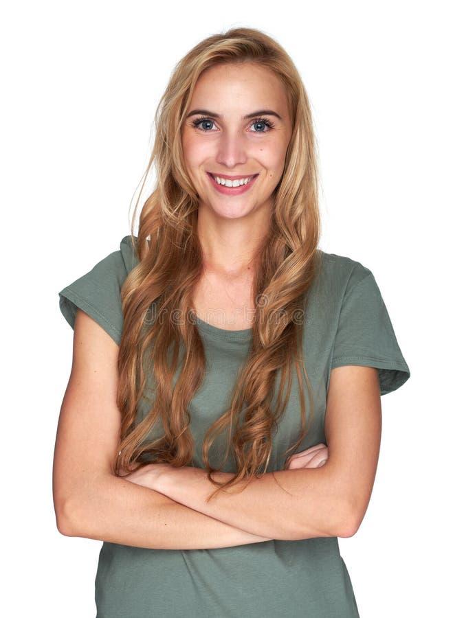 美丽的快乐的女孩年轻人 查出 免版税库存照片