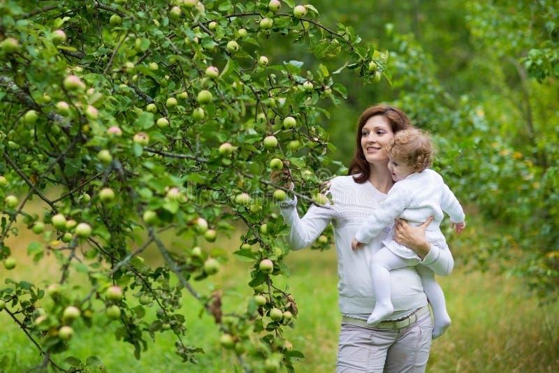 年轻美丽的怀孕的母亲和她的小女儿 库存照片