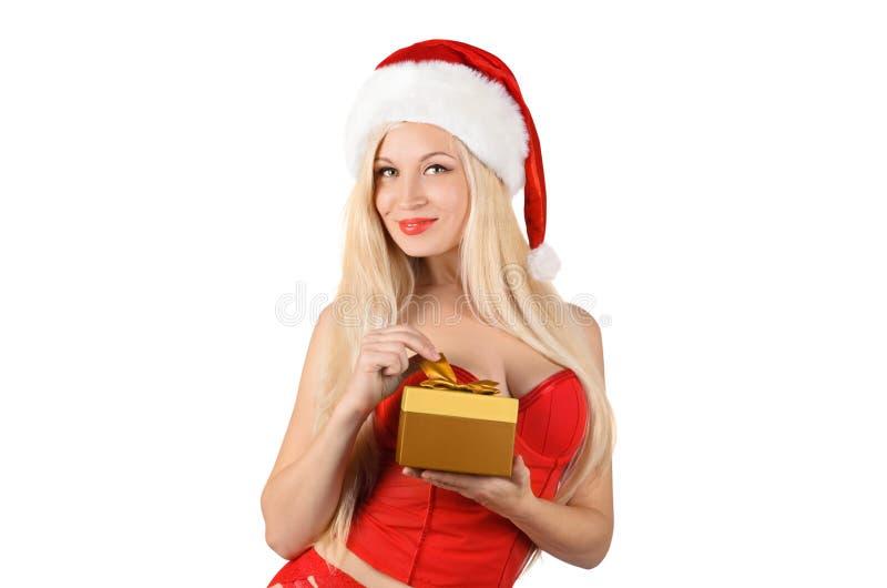 美丽的性感的圣诞老人妇女 免版税库存照片