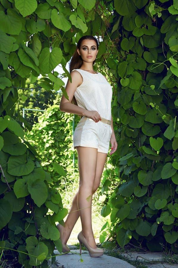 美丽的性感的妇女佩带的礼服步行公园太阳亮光构成 库存图片