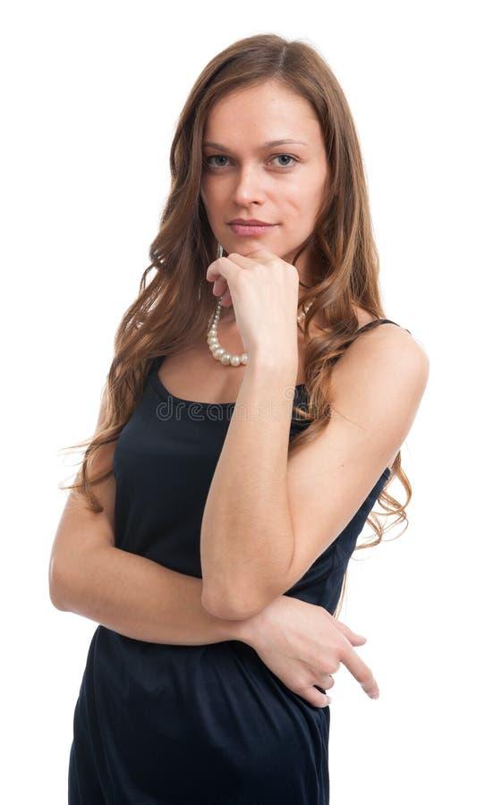 年轻美丽的性感的深色的微笑的妇女 库存照片