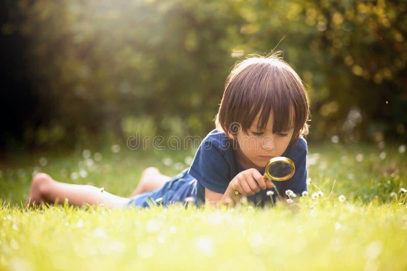 美丽的愉快的孩子,男孩,与扩大化的gla的探索的自然 免版税库存照片