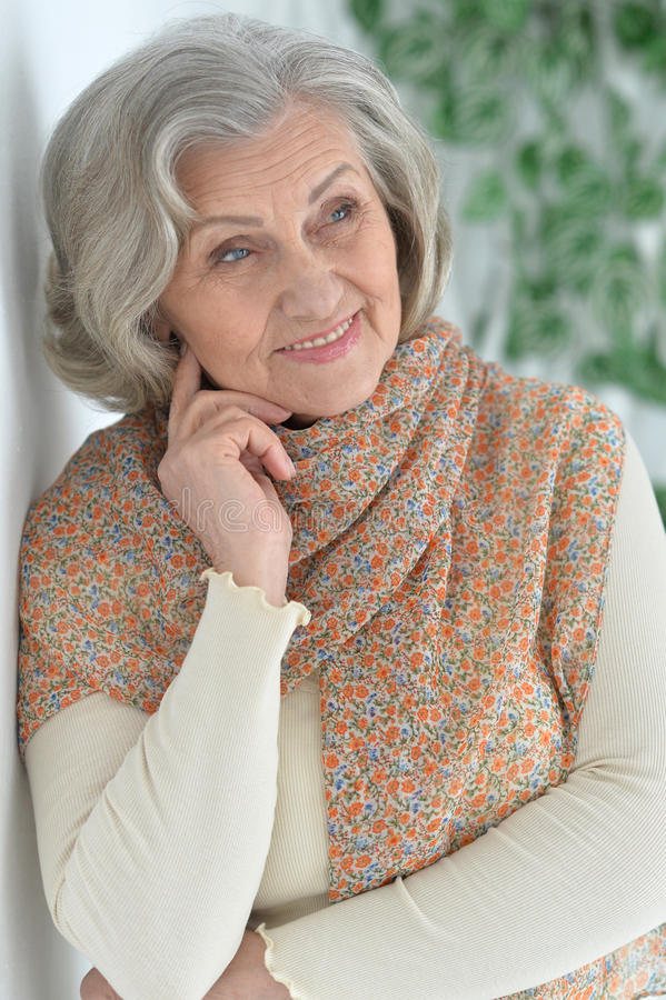 美丽的愉快的年长妇女 免版税库存图片