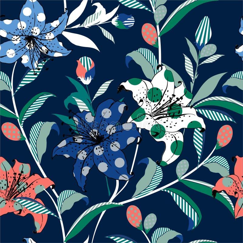 美丽的手图画五颜六色的百合和狂放花卉临时补缺者与polkadots流行艺术样式现代时髦时尚和所有的 皇族释放例证