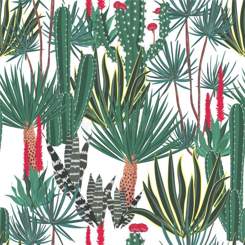 美丽的手拉的开花的仙人掌,仙人掌,多汁植物,colofrul无缝的样式水管植物为时尚,织品从事园艺,设计, 库存例证
