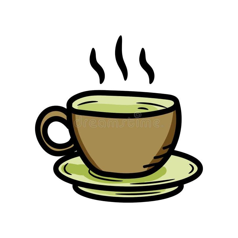 美丽的手拉的时尚咖啡象 手拉的黑剪影 标志/标志/乱画 背景查出的白色 向量例证