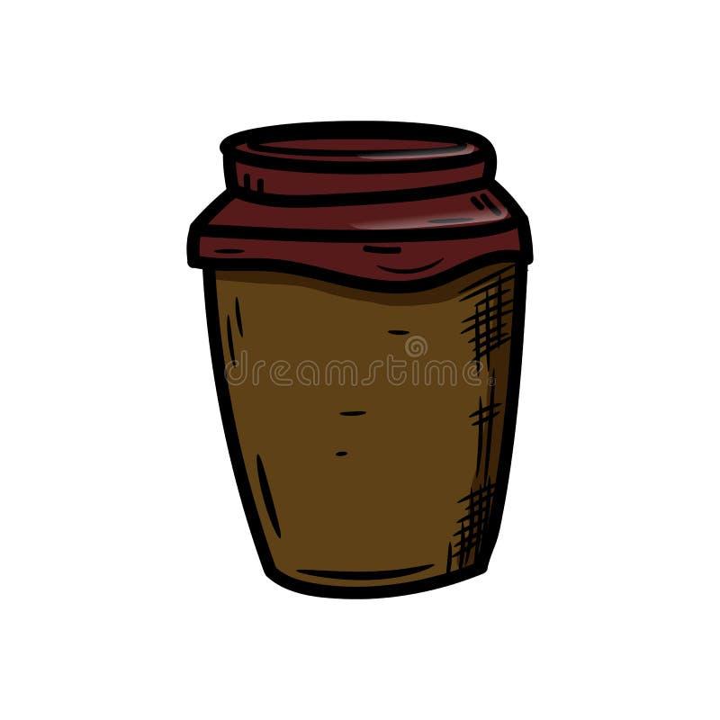 美丽的手拉的时尚咖啡象 手拉的黑剪影 标志/标志/乱画 背景查出的白色 皇族释放例证