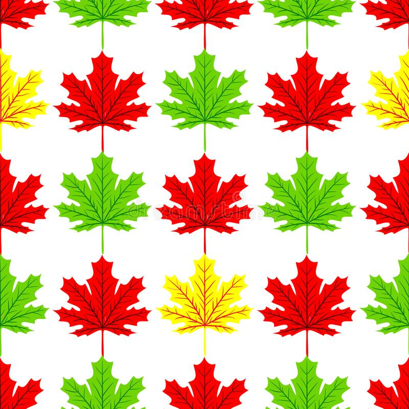 美丽的手拉的枫叶与在槭树形状和秋叶元素无缝的样式传染媒介的现代线混合 向量例证