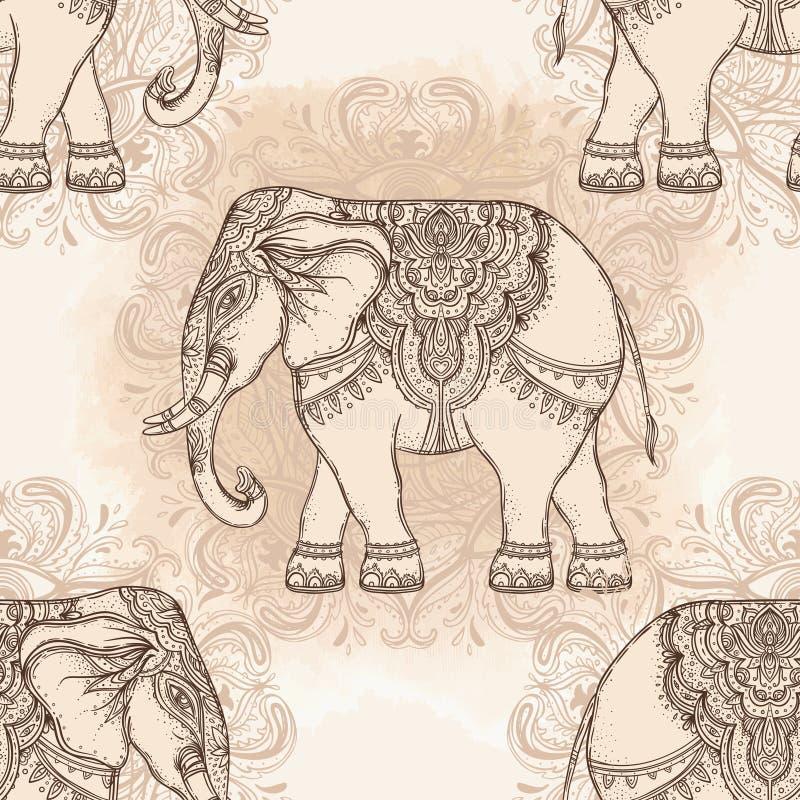 美丽的手拉的部族样式大象 无缝的样式des 皇族释放例证