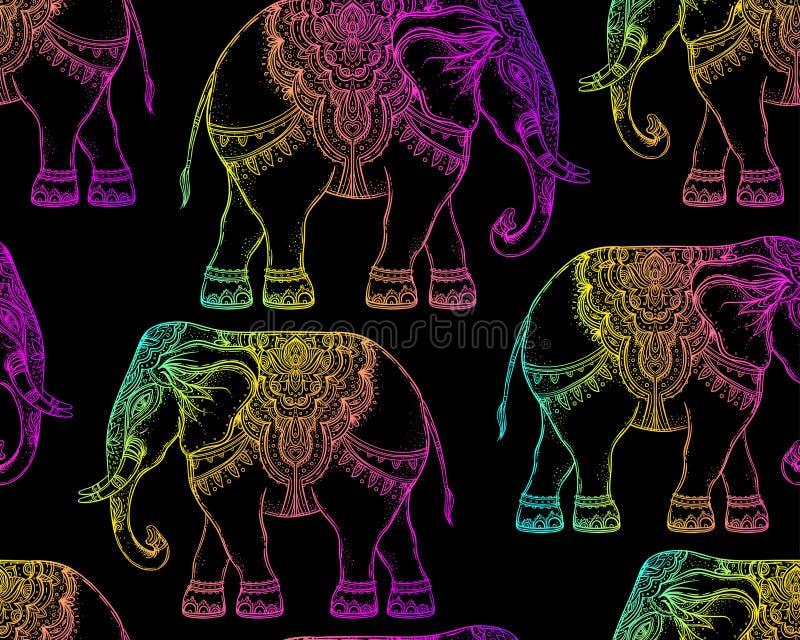 美丽的手拉的部族样式大象 无缝的样式des 库存例证