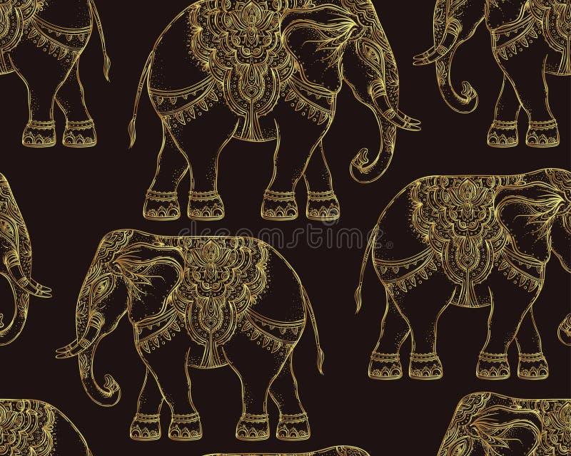 美丽的手拉的部族样式大象 无缝的样式des 向量例证