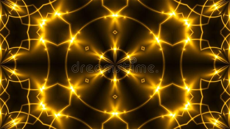 美丽的抽象万花筒-分数维金黄光, 3d回报背景,引起背景的计算机 库存照片