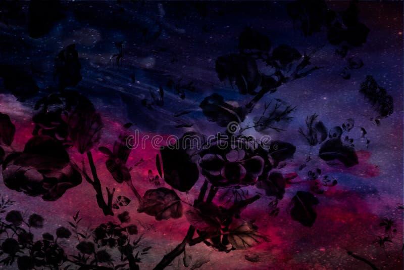 美丽的抽象树和花在五颜六色的桃红色蓝色紫色和太阳系行星背景和墙纸 库存图片