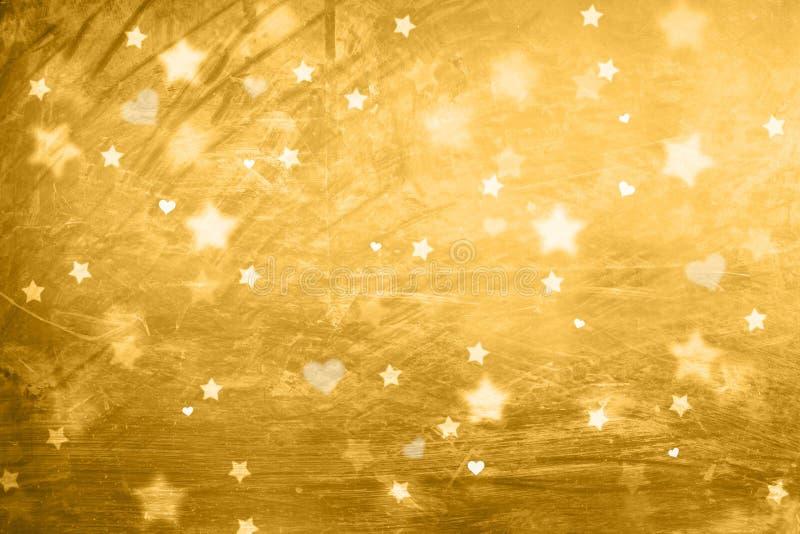 美丽的抽象金黄星和心脏贺卡 向量例证