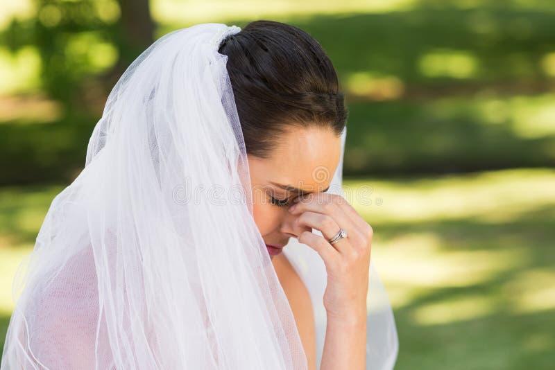 美丽的担心的新娘特写镜头公园的 免版税库存照片